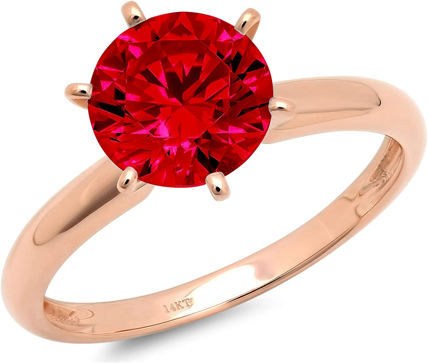 0.50 ct Brilliant Round Cut Solitaire Flawless Simulated CZ Red Ruby Ideal VVS1 6-Prong Engagement Wedding Bridal Promise Anniversary Designer Ring in Solid 14k rose Gold for Women