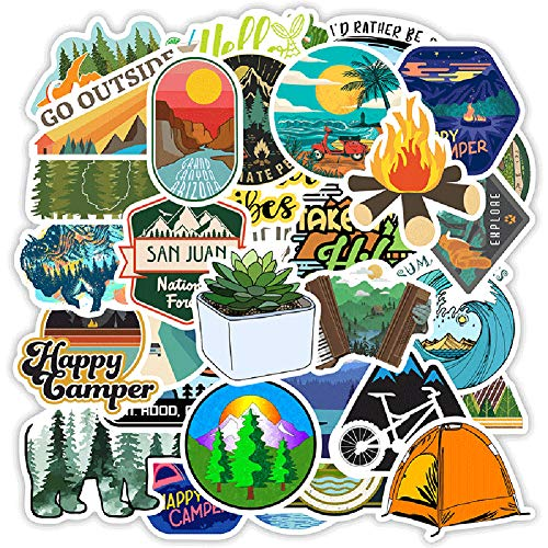 Outdoor Stickers 100-Pack, Stickers for Hydro Flask Water Bottles Waterproof Vinyl Aesthetic Trendy Sticker Decal Pack for Teens, Adults, Perfect for Laptop, Computer, Phone,Travel Case