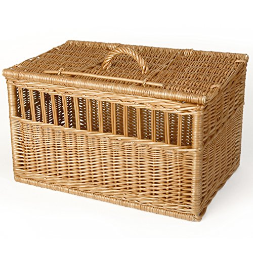 Weidenprofi Tiertransportkorb, Transportbox für Tiere aus geschälter Weide, Tierkorb für Katzen und kleine Hunde - Größe (LxBxH): 60 x 36 cm, 36 cm hoch