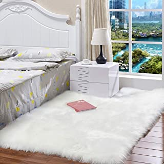 HEBE Fluffy Area Rugs 3'x5' Feet Soft Faux Fur Sheepskin Shag Silky Area Rug for Living Room Bedroom Baby Nursery Childrens Room Rug