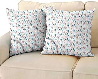 RuppertTextile Pastel Customized Pillowcase Colorful Unicorns Stars Suitable for Hair and Skin Health W17 x L17