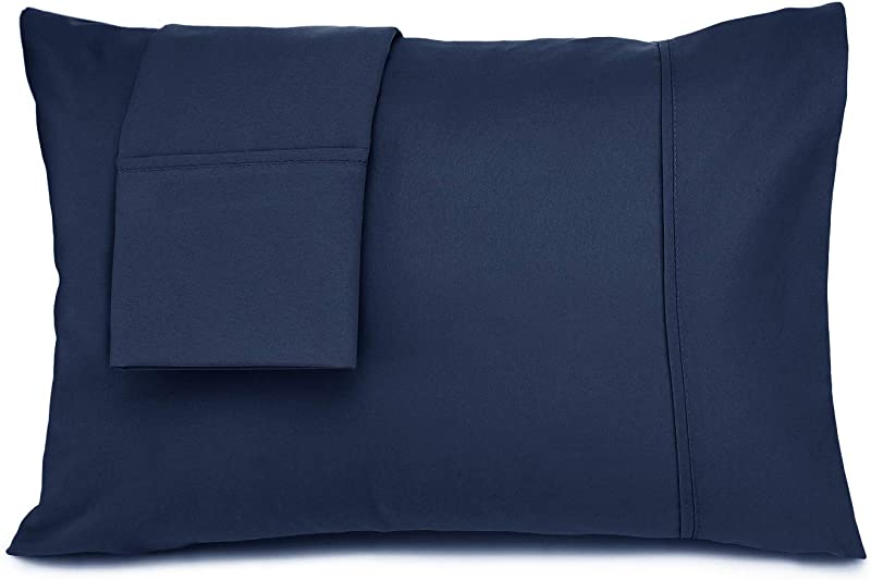 Nestl Bedding Solid Microfiber Toddler Pillowcase 14 X 19 Inches Pillowcases Navy Blue Set Of 2