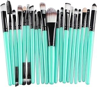 BCDshop 20 pcs Makeup Brush Set Cosmetics Foundation Blending Blush Eyeliner Face Powder Brush Make-up Tools Kit Wool Make Up Brush Set (Black)
