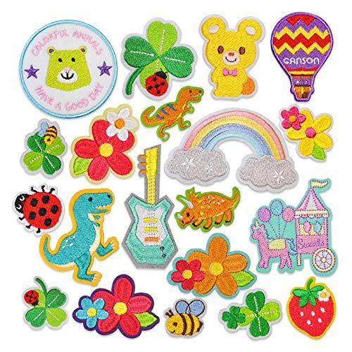 Patch Sticker,Parche termoadhesivo,Aplique de bordado adecuado para sombreros, chaquetas, abrigos, camisetas, 24 piezas de flor de fresa pequeña