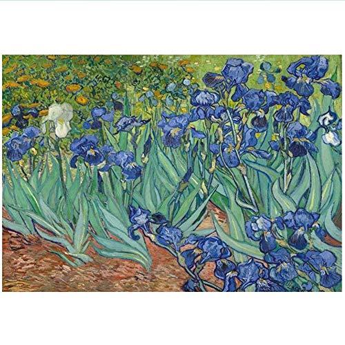 RuiChuangKeJi Cuadro en Lienzo 60x80cm Sin Marco Iris de Van Gogh Pinturas en la Pared Impresiones artísticas Obras de Arte Famosas de Van Gogh Imágenes para la Sala de Estar