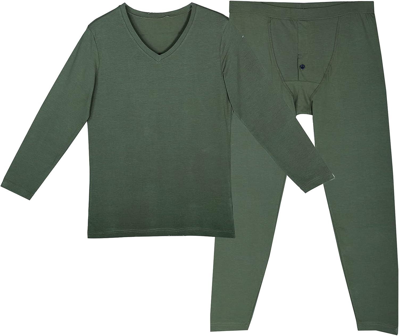 Mucwer Men's Thermal Underwear Set Cotton Long Sleeve Round-Neck Lined Warm Base Layer Thermals Pajamas Set