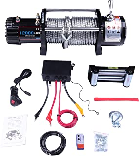 ECCPP Winches, 12V 12000LBS Steel Cable Electric Winch for Towing Jeep/SUV Boat Off Road with Wireless Remote Control