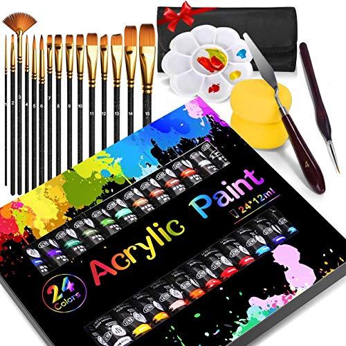 Pintura Acrílica, Buluri 24 Tubos de acrilico pintura Pintura Acrilico, con 15 pc Pinceles de Pintura de Nilón to Niños, para Lienzo, Papel, Madera, Tela -12ml