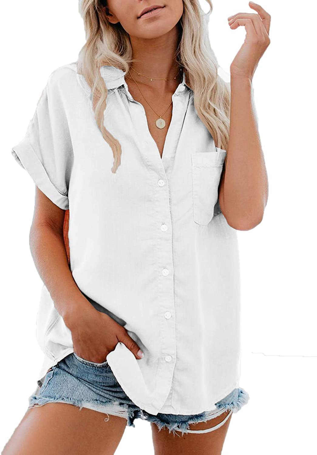 Bellastory Women's Button Up Shirts Cotton Short Sleeve Blouses V Neck Casual Tunics Solid Color Tops with Pockets
