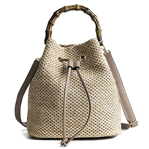QZUnique Women's Bucket Drawstring Handbag Straw Shoulder Bag Straw Weave Crossbody Handbag Beach Bags With Bamboo Handle