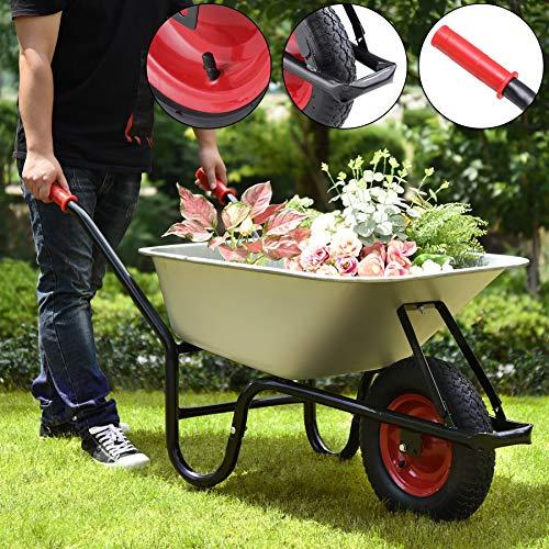 Monzana® Schubkarre 100 Liter | bis 250kg Belastbarkeit | Luftreifen mit Stahlfelge | verzinkt | stabile Ausführung mit Aufliegewanne | Bauschubkarre Gartenschubkarre - 5