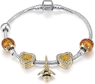 Qings DIY Golden Crystal Beads Bracelet Bangle Snake Chain Charm with Bee Pendant Bracelet for Women 18cm