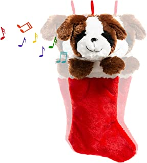 HollyHOME Christmas Stockings Cute Dog Hanging Xmas Decoration Kids Gift Socks Ornament Brown 19