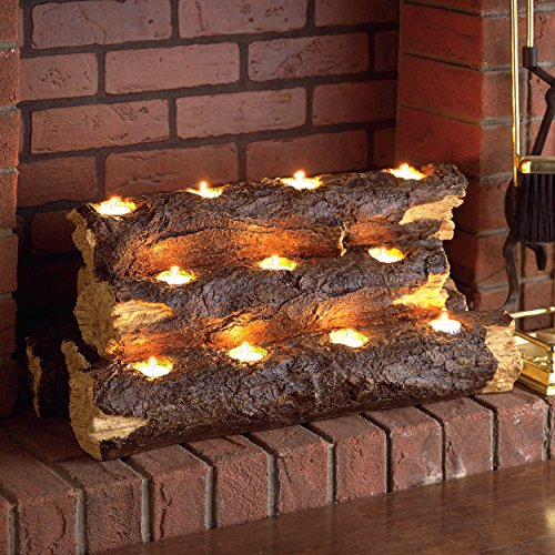 """SEI Furniture Resin Tealight Fireplace Log - 24"""" Inch Holds 11 Candles - Rustic Wood Finish"""