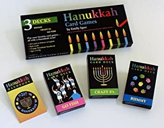 Hanukkah Card Games: Go Fish, Crazy 8's, Rummy(3 Decks Boxed)