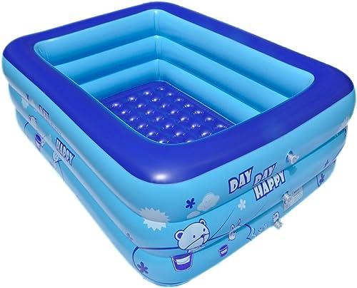 Famille Bébé Pompe à Pied Gonflable Piscine pour Enfants Piscine Plus épaisseur Baignoire Ocean Ball Piscine Baignoire Adulte Tuba Bleu (Taille   125cm)