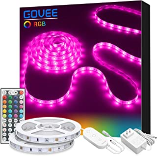 LED Strip Lights, Govee 32.8ft RGB Colored Rope Light Strip Kit with Remote and Control Box for Room, Ceiling, Bedroom, Cupboard Lighting with Bright 5050 LED, Strong 3M Adhesive Cutting Design (2X5m)