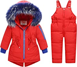 REWANGOING 2 Pcs Baby Kids Girls Winter Warm Colorful Fur Trim Puffer Down Jacket Snowsuit with Ski Bib Pants Set