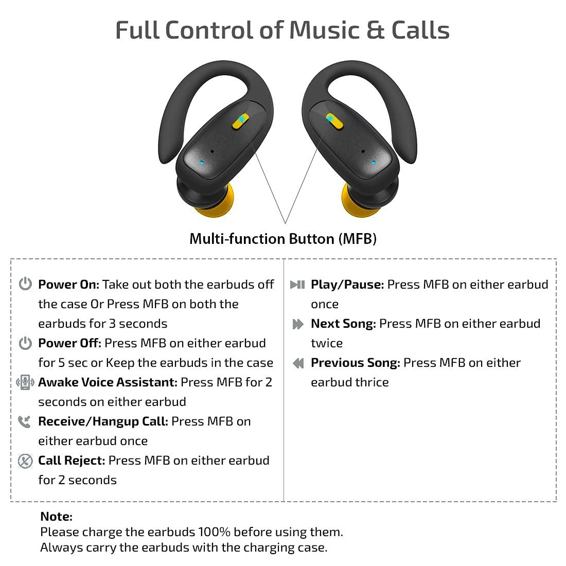 Ptron Bassbuds Sports Earbuds Controls