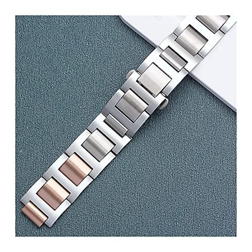 Correa de reloj de acero inoxidable de metal de liberación rápida, correa de reloj Accesorios de reloj para hombres y mujeres Pulsera de correa de reloj con hebilla plegable de acero inoxidable 3