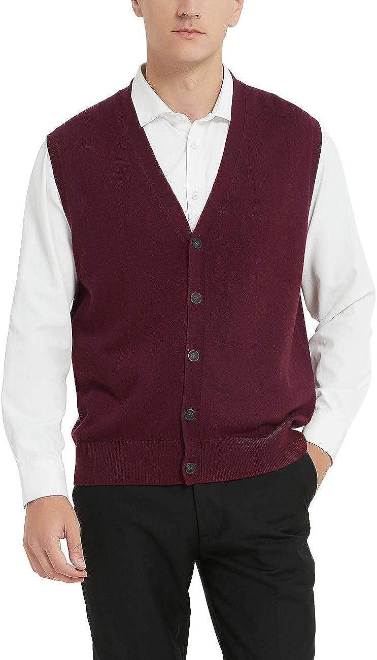 Kallspin Men's Cashmere Philadelphia Mall Wool Blended Vest Fit Max 86% OFF Sweater Relaxed V