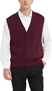 Kallspin Men's Cashmere Wool Blended Sweater Vest Relaxed Fit V-Neck Sleeveless Cardigan with Buttons