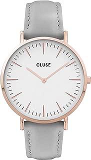 Cluse Women's La Boheme 38mm Grey Leather Band Steel Case Quartz White Dial Analog Watch CW0101201007