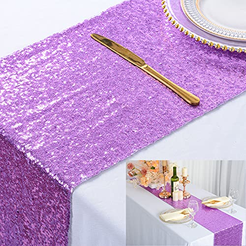 ShinyBeauty Lavender Runners 13x108-Inch Sequin Table Runners Lilac Sweet 16 Decorations (Pack of 1) -0103S