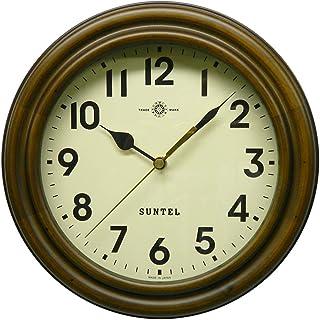 さんてる 日本製 レトロ電波時計 (ろくろ) アンティークブラウン (アラビア文字) SR14-A