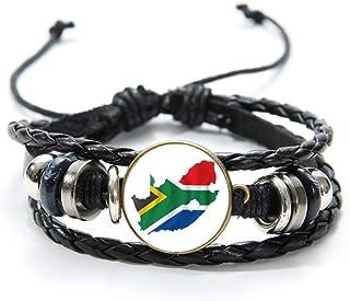 国旗チャームレザーブレスレットベルギー南アフリカドイツハンガリーチェコ共和国ガラス凸ジュエリーリストバンド