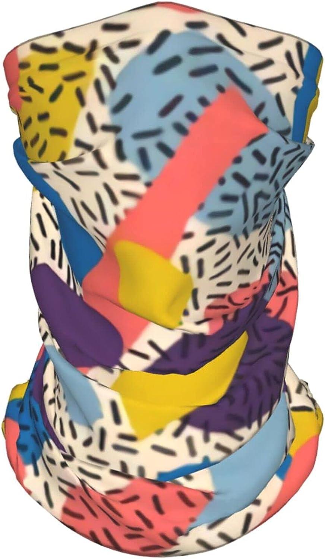 90s Retro Geometric2 Neck Gaiter Multipurpose Headwear Ice Silk Mask Scarf Summer Cool Breathable Outdoor Sport 2 Pcs