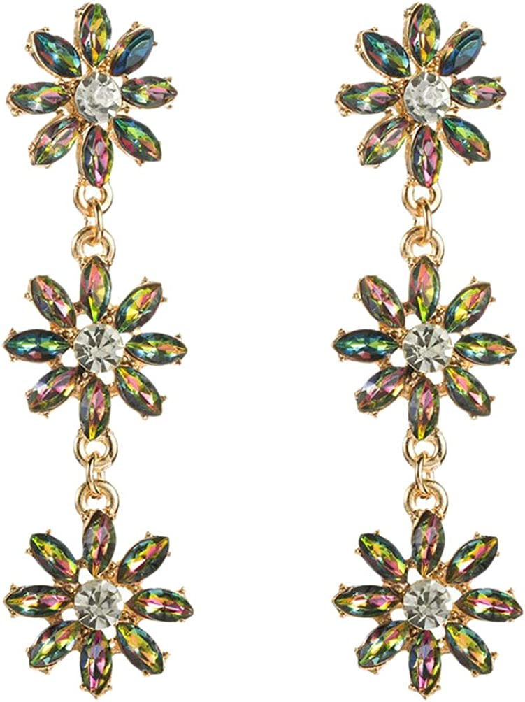 Happyyami 1 Pair Rhinestone Flower Earrings Multilayer Alloy Long Tassel Earrings Party Jewelry Accessories for Shopping Ear Decor(Assorted Color)