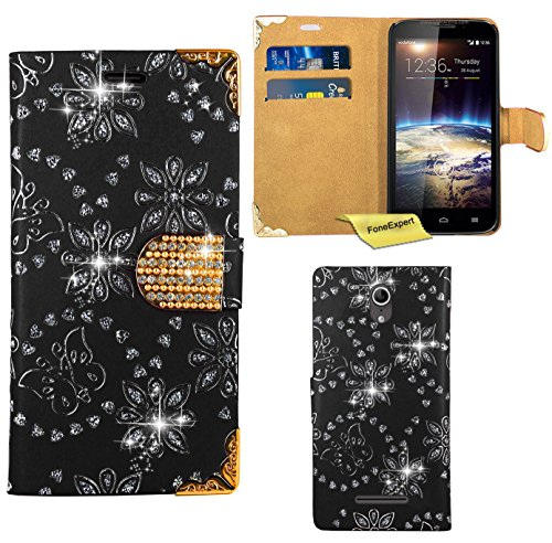 Vodafone Smart 4 Power Handy Tasche, FoneExpert® Bling Diamant Hülle Wallet Hülle Cover Hüllen Etui Ledertasche Premium Lederhülle Schutzhülle für Vodafone Smart 4 Power