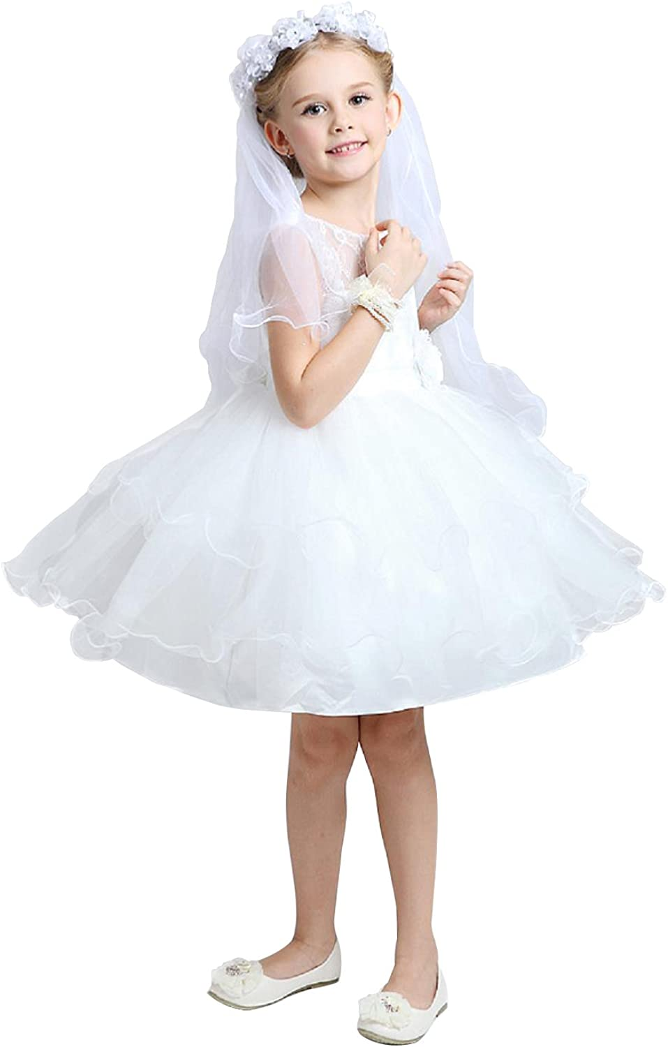 Veil Children' s Outstanding White Gilrs Hair Accessorie Two Layer