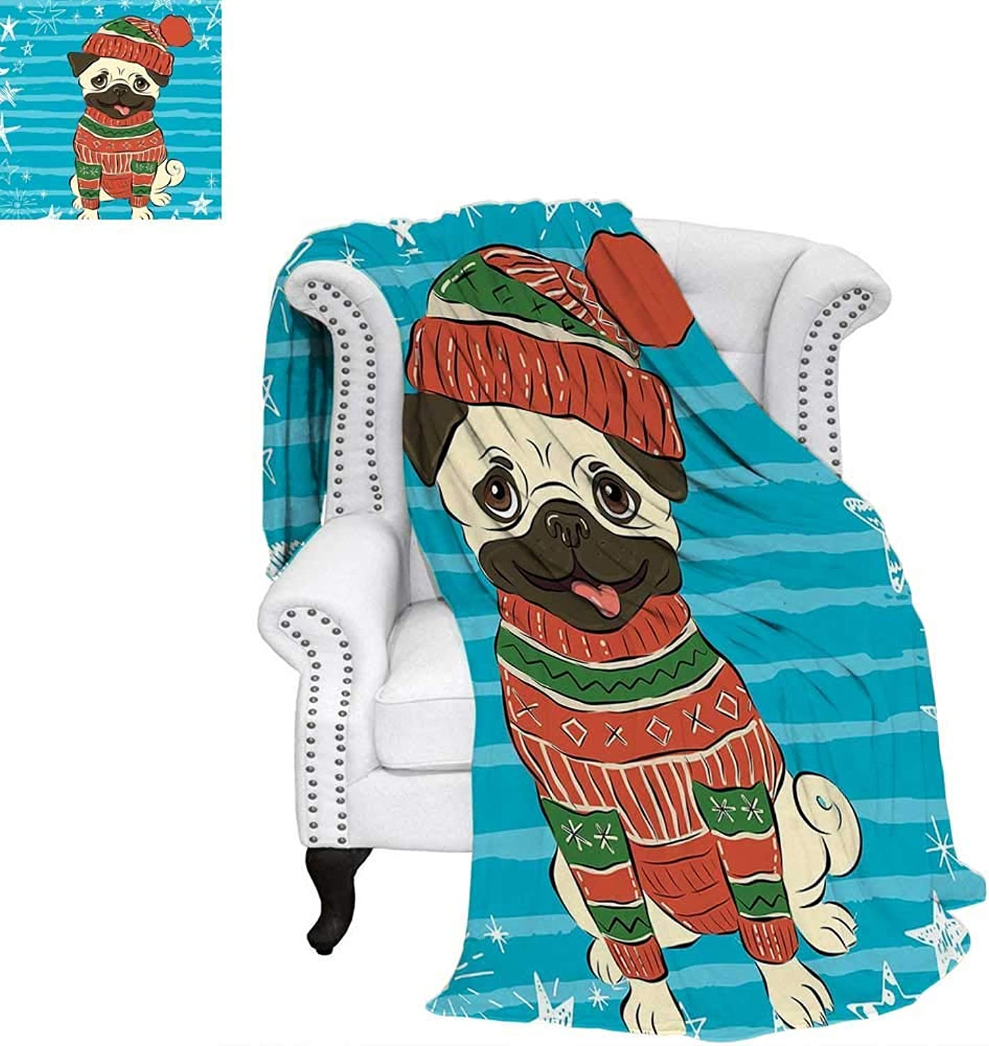 CHASOEA Pug Velvet Plush Throw Blanket Happy Dog with Winter Clothes Vibrant Stripped Background with White Stars Moon Weave Pattern Blanket 60 x50  Emerald bluee Red
