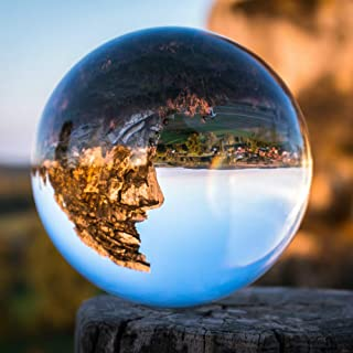 SunAngel Crystal 3 inch (80mm) Clear Crystal Ball Art Decor K9 Crystal Prop for Photography Decoration - No Stand (80MM)