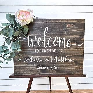 Cartel de bienvenida de boda Calcomanías de madera Etiqueta de nombre personalizado Decoración de boda rústica moderna Pegatinas de vinilo para tablero Espejo Mural