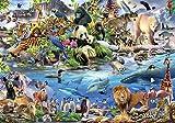DekoShop Fototapete Vlies Wanddeko Kinderzimmer Selfies - Mädchen Jungen Tiere Zoo Kinder Löwe Giraffe Affe Elefant Delfin Eisbär Tiger Pinguin Dschungel Wanddekoration 12843V8 368cm x...