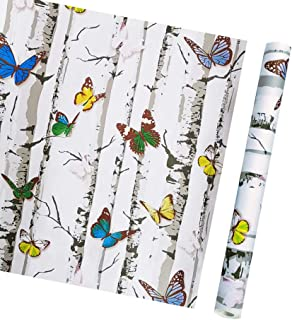 TaoGift Self Adhesive Vinyl White Birch Butterfly Contact Paper Shelf Liner for Kitchen Bathroom Cabinets Drawer Backsplash Wall Arts Crafts Door Sticker Decal 17.7