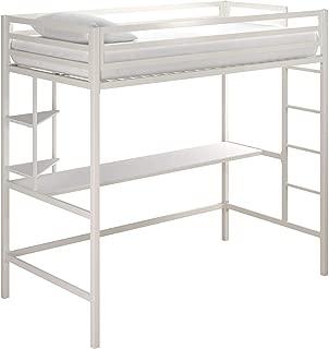 Novogratz Maxwell Metal Twin Loft Desk & Shelves, White Bunk Beds,