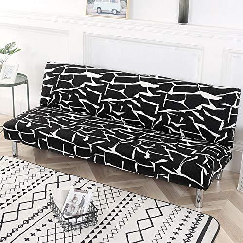 Funda de sofá Cama Impresa Fundas Antideslizantes Funda de sofá elástica Fundas elásticas para Muebles Funda de sofá de un Solo Asiento 150-185 cm Negro