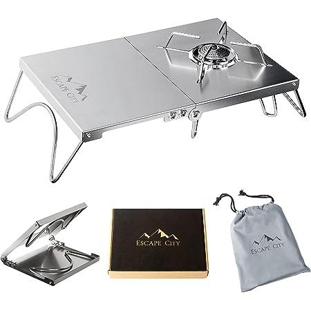 遮熱テーブル 遮熱板 シングルバーナー用 テーブル 軽量 折り畳み ステンレス製 キャンプ用品 ソト SOTO ST-310/ ST-330 イワタニ トランギア 4種類バーナー対応 収納袋付き