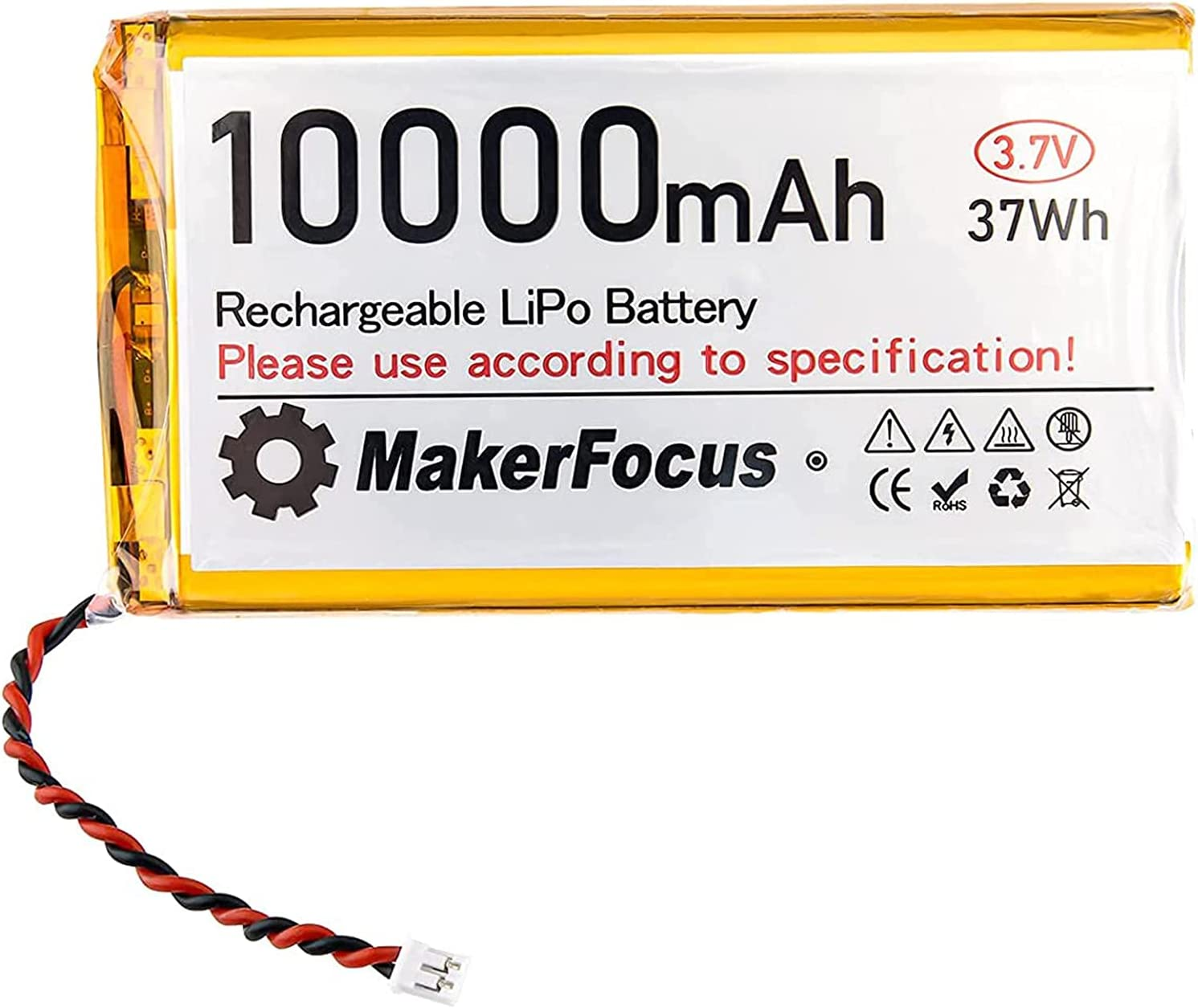 3.7V Lipo Battery 10000mAh Lithium Rechargeable Battery 9065115 with Micro PH2.0 Plug for Raspberry Pi UPS Board