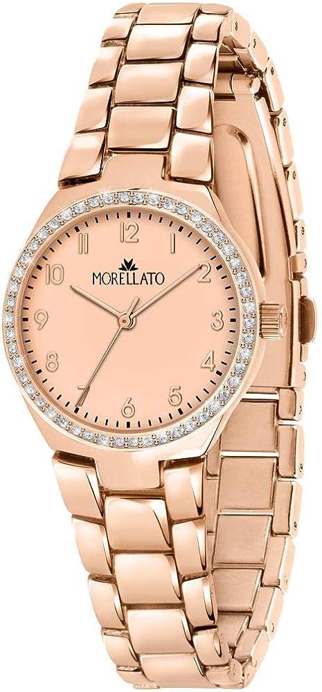 Morellato, orologio da donna,  in acciaio in pvd oro rosa,lunetta impreziosita da brillanti cristalli bianchi R0153157501