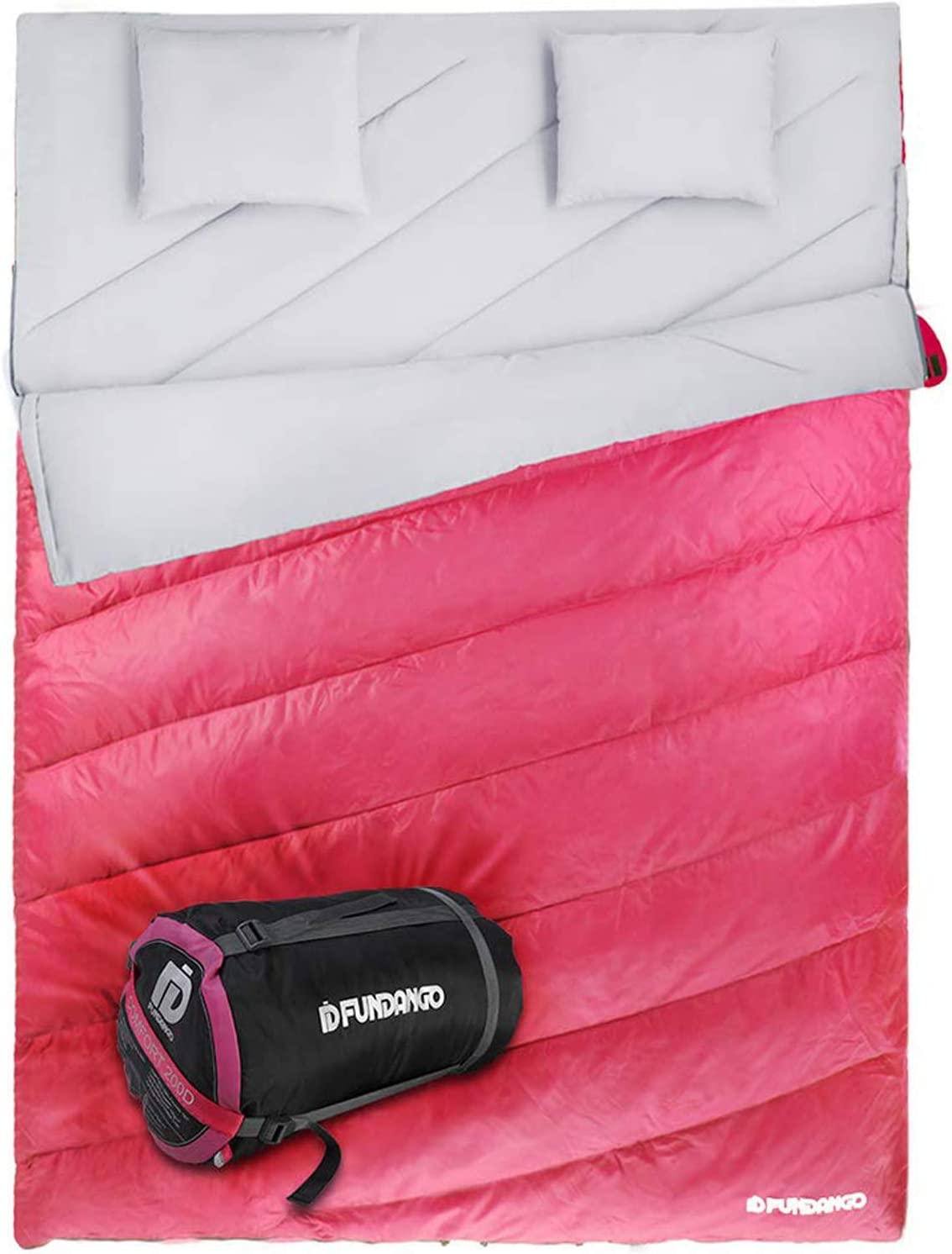 FUNDANGO 3-in-1 Max 57% OFF Queen Size Double Nashville-Davidson Mall Sleeping Pillows 2 with fo Bag