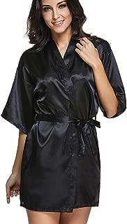 FLYCHEN Women's Short Pure Colour Robe Wedding Bridesmaid Lounge Kimono Satin Bathrobe