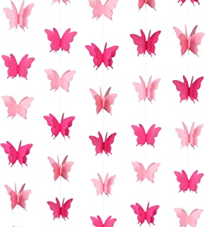 Cieovo Butterfly Hanging Garland 3D Paper Bunting Banner Party Decorations Wedding Baby Shower Home Decor Purple 4 Pack, 110 inch Long Each