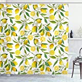 Ambesonne Nature Shower Curtain, Exotic Lemon Tree Branches Yummy Delicious Kitchen Gardening Design, Cloth Fabric Bathroom Decor Set with Hooks, 84' Long Extra, Fern Green
