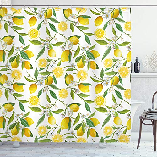 ABAKUHAUS La Nature Rideau de Douche, Exotique délicieux Jardin, Tissu Ensemble de Décor de Salle de Bain avec Crochets, 175 x 200 cm, Fern Vert Blanc Jaune