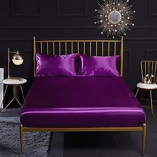 Ynuth 1pc Drap Housse en Satin Polyester Taille 160X200cm Couleur Violet